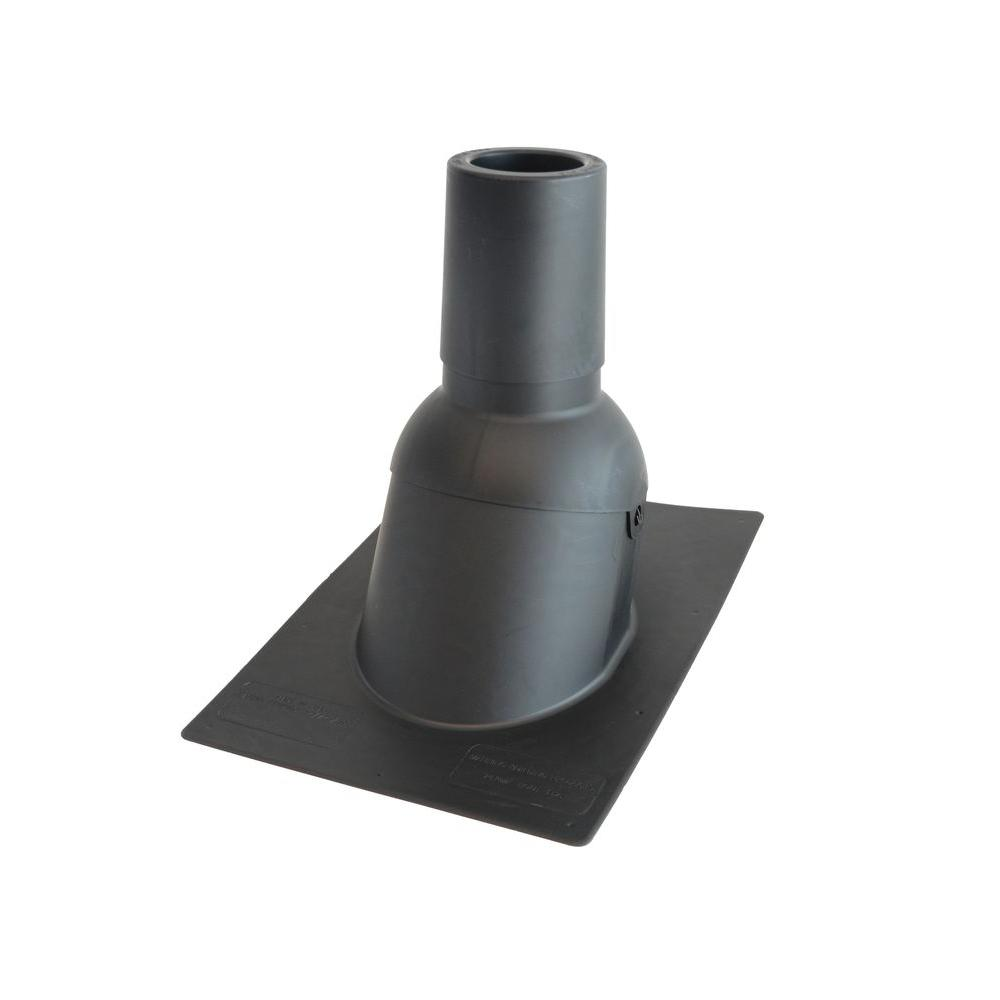 4 in. Inside Diameter Black New Construction or Reroof Thermoplastic Vent Pipe Roof Flashing