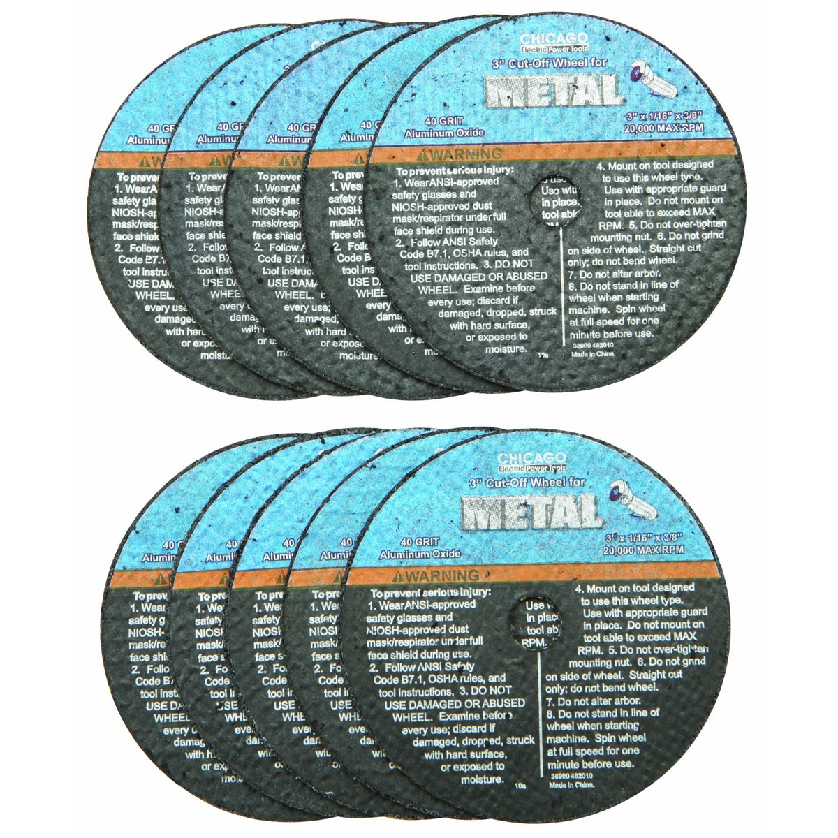 3 in. 40 Grit Metal Cut-off Wheel 10 Pc